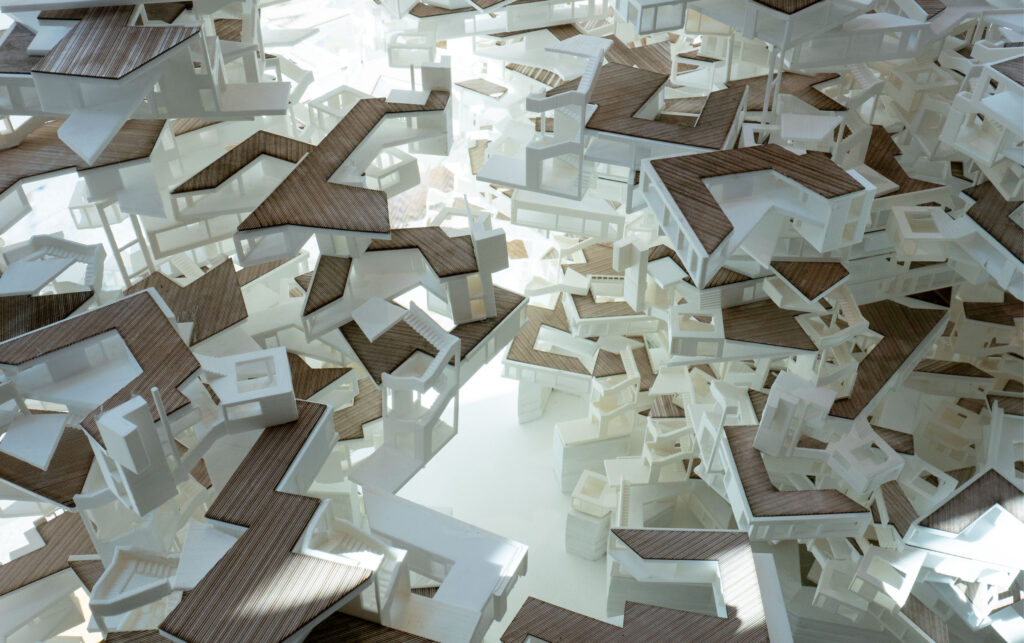 Interior view of physical model, NPoche, 2018. Silu Meng, Ruohan Xu, and Qianying Zhou. RC17. MArch Urban Design. The Bartlett School of Architecture, UCL.