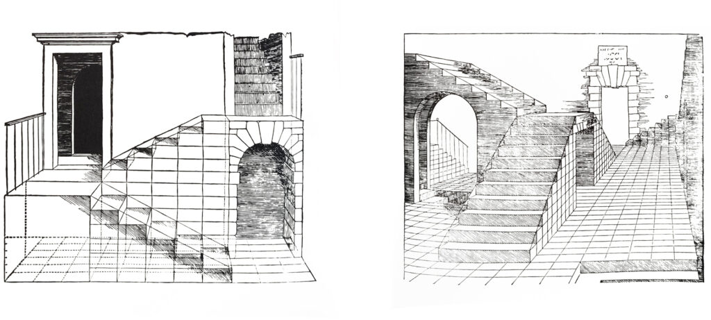 Illustrations of exemplary stairs constructed through cubes, Sebastiano Serlio, 1566.